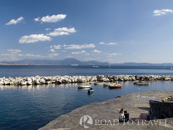 Gulf of Naples The unmistakable view of Gulf of Napleasand Mt. Vesuvio .