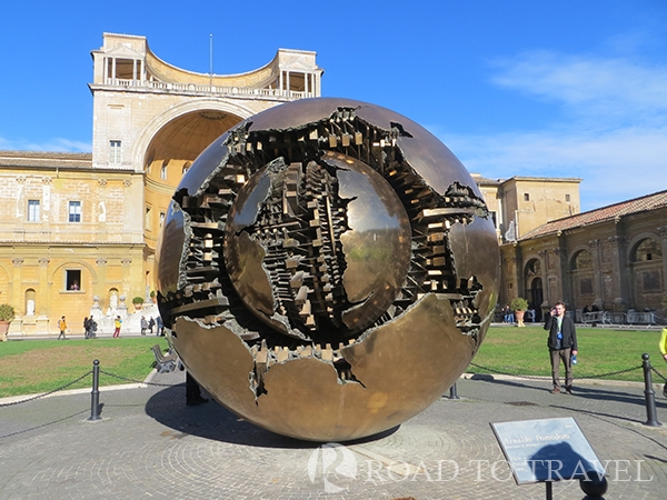 Vatican Grounds sculpture The Sphere within a Sphere sculpture was the creation of the Italian sculptor Arnaldo Pomdoro. It is one of a series of bronze sculptures found in many cities that represent the complexity of the world.
