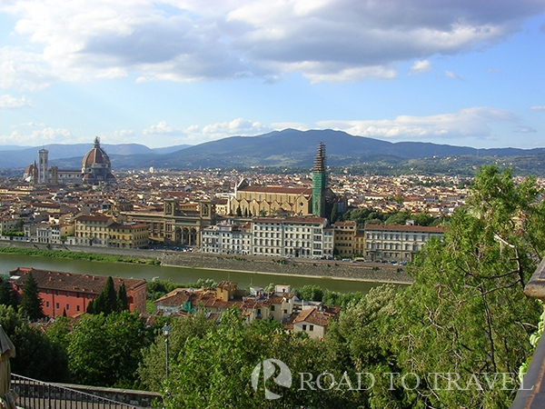 Piazzale Michelangelo A panoramic view of Florence from Piazzale Michelangelo.<br/> This is the best place to take panoramic pictures of the city and is the classic view of Florence used on postcards. You can enjoy the view of most of the main monuments such as the Brunelleschi Dome,<br/> Palazzo della Signoria, Ponte Vecchio, Santa Maria Novella Church and Santa Croce Church.<br/> Any time is the the best time to visit Piazzale Michelangelo, in the morning with a bright sun when you can see clearly all the details,<br/> at sunset when the sun is on the side and provides a romantic color to the city and at night when the main domes and buildings come to life with beautiful lighting.<br/> This place is suggested for your Italy honeymoon packages.