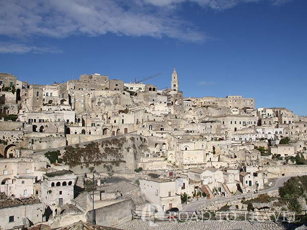 Matera - Panoramic view from Cathedral Panorama of Sassi of Matera with the bell tower of the Cattedrale di Matera at its highest point.