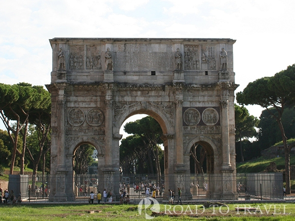 Arch of Constantine - Rome View of Arch of Constantine from the Colosseum. On the right is the entrance to the Palatine Hill